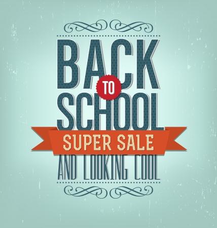 文字体裁の要素 - ベクトル形式で学校のスーパー セール デザインのレイアウトに戻るビンテージ スタイルの学校に戻る  イラスト・ベクター素材