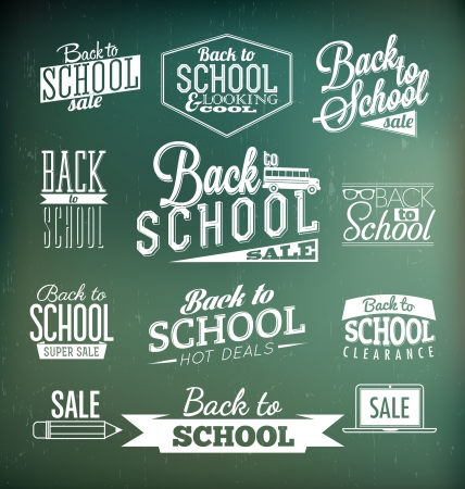 Back to School Calligraphic Designs   Retro Style Elements   Vintage Ornaments   Sale, Clearance   Vector Set Illustration