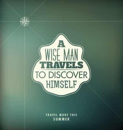 discover: Typographic Poster Design - A wise man travels to discover himself Illustration