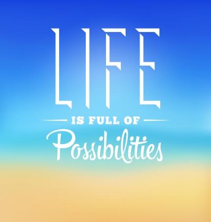 タイポグラフィ ポスター デザイン - 人生は可能性に満ちた