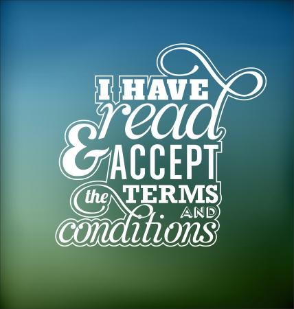 accepter: Conception d'affiche typographique - J'ai lu et j'accepte les termes et conditions