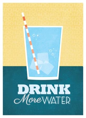 多くの水のポスター デザインを飲む
