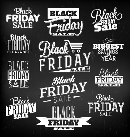 negro: Viernes Negro diseños caligráficos elementos de estilo retro Vintage Adornos venta, Liquidación Set Vector Vectores