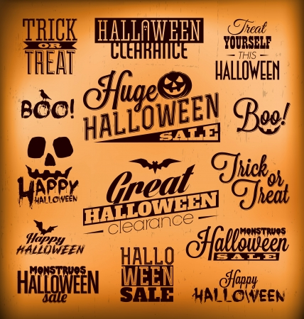 Halloween Calligraphic Designs   Retro Style Elements   Vintage Ornaments   Sale, Clearance   Vector Set