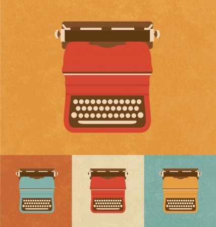 m�quina de escribir vieja: Retro Iconos - M�quina de escribir vieja Vectores