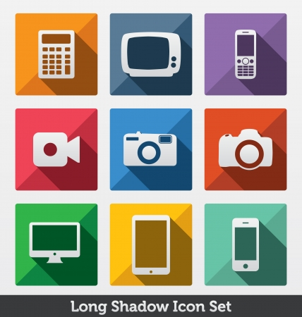 Long Shadow Icon Set - Trendy Design - Fashionable icons   Modern Minimal Look - Clean Design Concept - Smart Devices Illustration