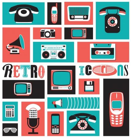 ностальгический: Стильные медиа иконы - в стиле ретро - Старинные элементы - Ностальгический дизайн - Good Old Days Чувство - Hipster Trend - иллюстрация Набор Иллюстрация