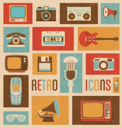 ностальгический: Ретро стиль медиа иконы - Vintage Elements - Ностальгический дизайн - Good Old Days Feeling - Hipster Trend - векторный набор Иллюстрация