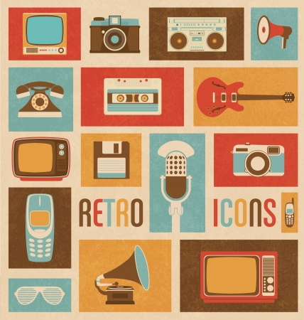 floppy: Retro Style Media Icons - Vintage Elements - Nostalgic Design - Good Old Days Feeling - Hipster Trend - Vector Set