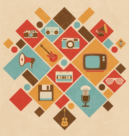 Retro Media Icons In Geometric Layout Illustration