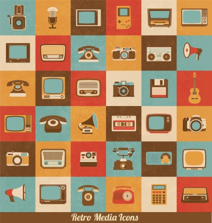 tv screen: Retro Style Media Icons - Vintage Elements - Nostalgic Design - Good Old Days Feeling - Hipster Trend - Vector Set