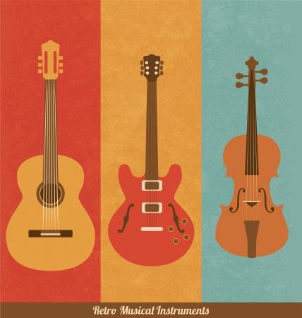 guitar neck: Retro Icons - Guitar Set Illustration