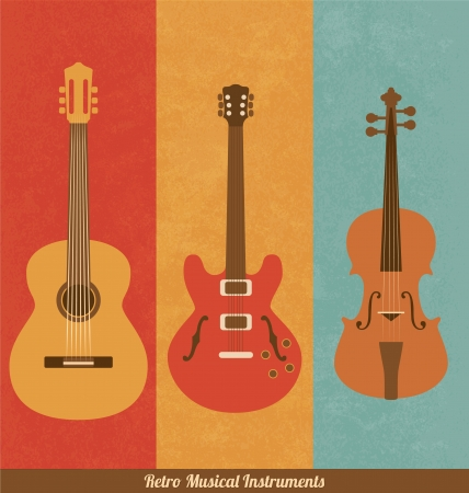 Retro Icons - Guitar Set Illustration