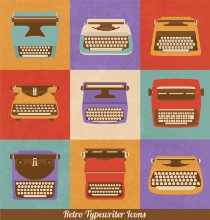 Retro Style Typewriter Icons - Vintage Elements - Nostalgic Design - Vector Set Vectores