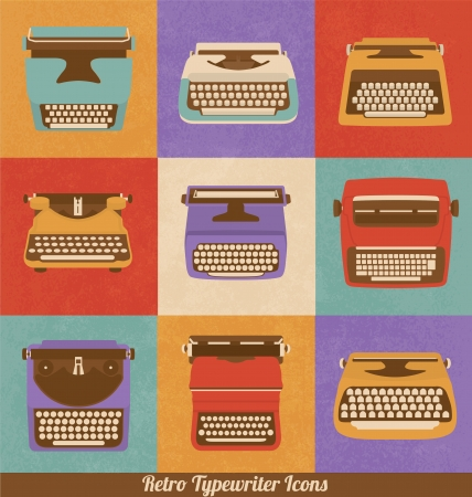 Retro Style Typewriter Icons - Vintage Elements - Nostalgic Design - Vector Set Çizim