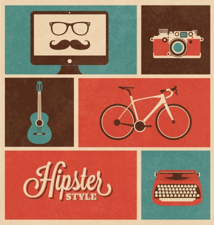 old typewriter: Hipster Design Icon Set Illustration