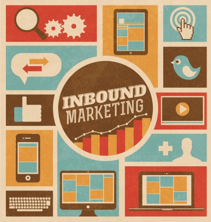 strategie: Marketing Inbound - Design piatto alla moda retr� illustrazione vettoriale Vettoriali