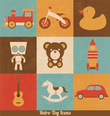 juguetes antiguos: Retro iconos de juguete Vectores