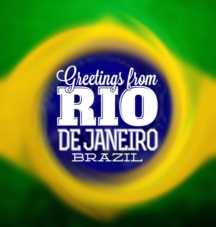 janeiro: Rio De Janeiro - Typogrpahic Greeting Card Illustration