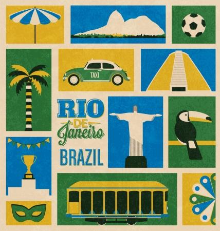 rio: Retro Rio de Janeiro, Brazil Icons Illustration