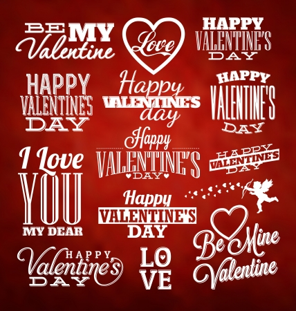 Set of Typographic Valentines Design Templates