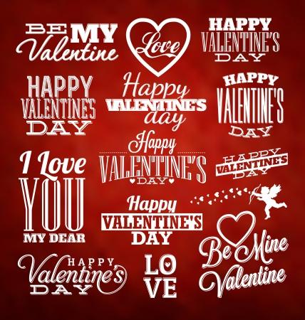 Set van Typografische Valentines ontwerpsjabloon
