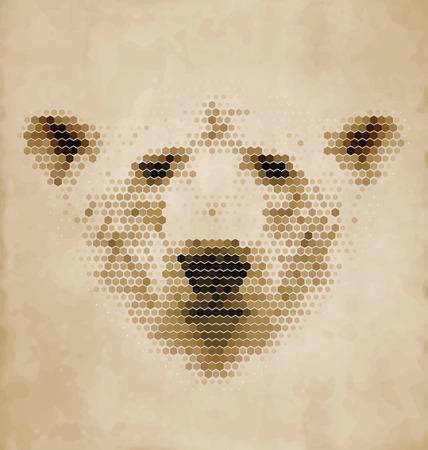 Vintage Geometric Polar Bear Design Vector