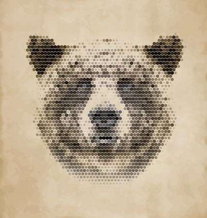brown shirt: Vintage Geometric Bear Design