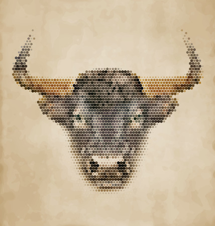 Bull portrait made of geometrical shapes - Vintage Design Illustration