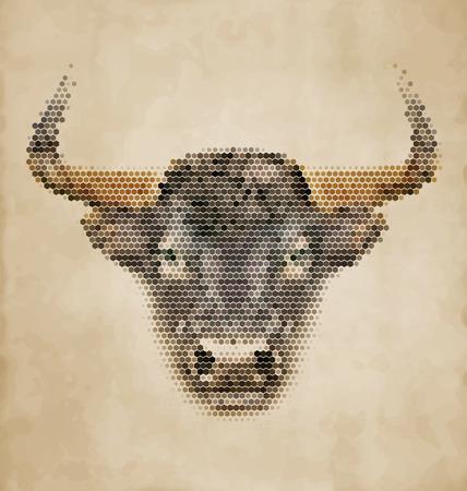 strong bull: Bull portrait made of geometrical shapes - Vintage Design Illustration