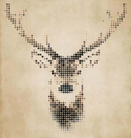 기하학적 모양으로 만든 사슴 초상화 - 빈티지 디자인 스톡 콘텐츠 - 32772422