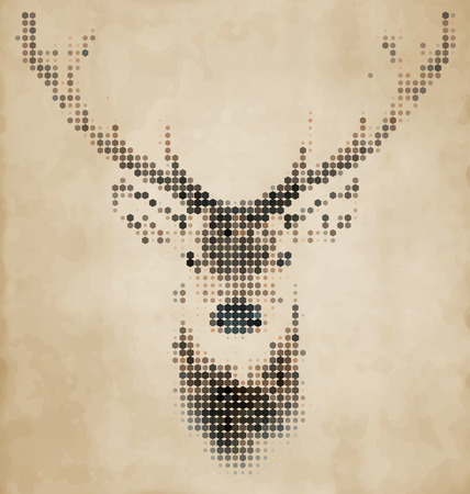 Deer portrait made of geometrical shapes - Vintage Design Zdjęcie Seryjne - 32772422