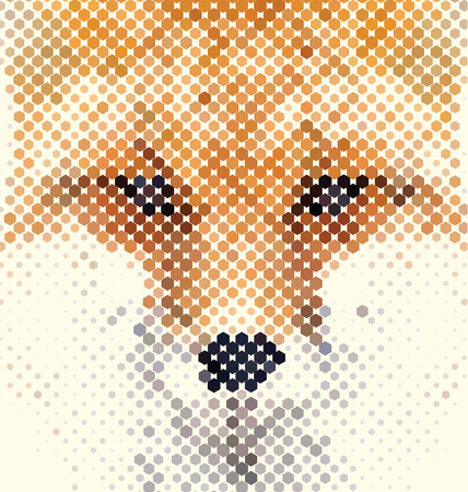 Fox portrait made of geometrical shapes Illustration