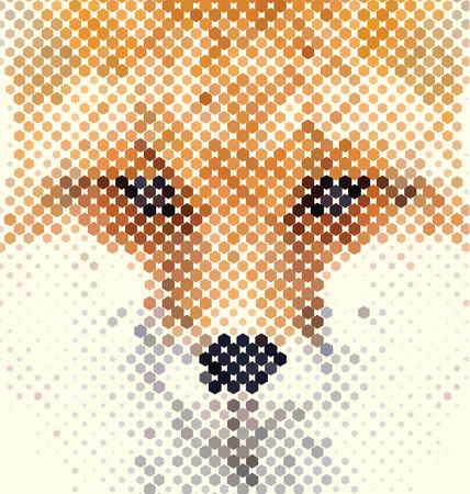 Fox portrait made of geometrical shapes Vettoriali