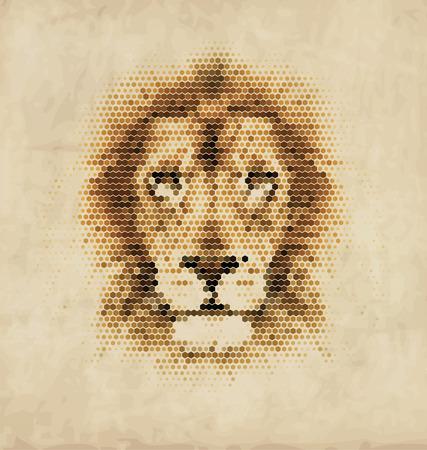 king of hearts: Vintage Geometric Lion Design