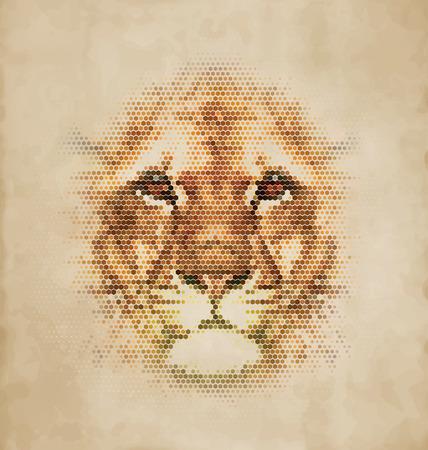 geometrical shapes: Lion portrait made of geometrical shapes - Vintage Design Illustration