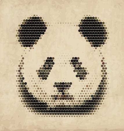 Vintage Geometric Panda Design Vector