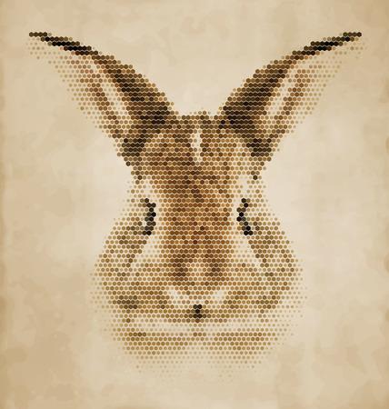 lapin silhouette: portrait de lapin en formes géométriques - Vintage Design