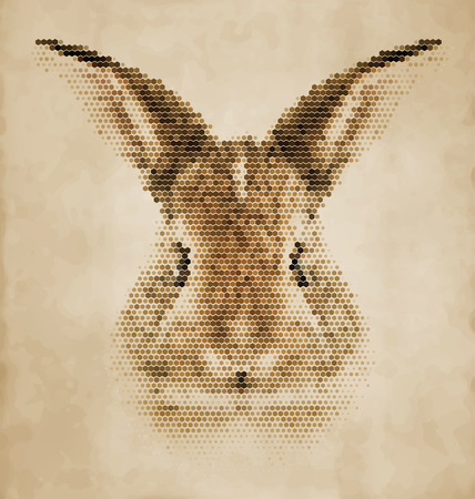Rabbit portrait made of geometrical shapes - Vintage Design