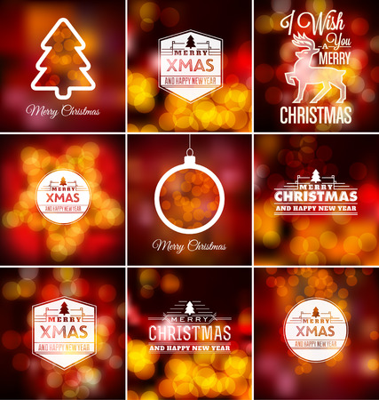 blurred lights: Christmas Set - Typographic Design with Blurred Lights Background