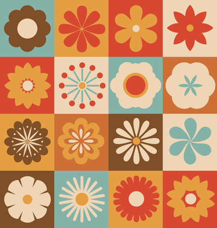 Retro Flower Collection - Vectorized Flowers from basic geometric elements Vector