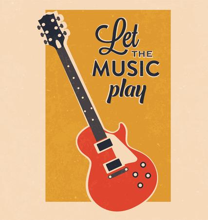 Retro elektrische gitaar met Typografie Inspiration Poster Vector Illustratie