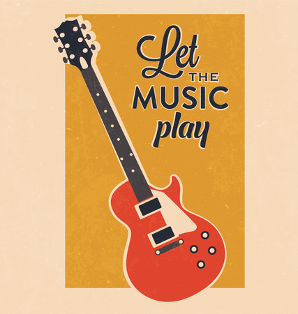 Retro Electric Guitar With Inspiration Typography Poster Illustration
