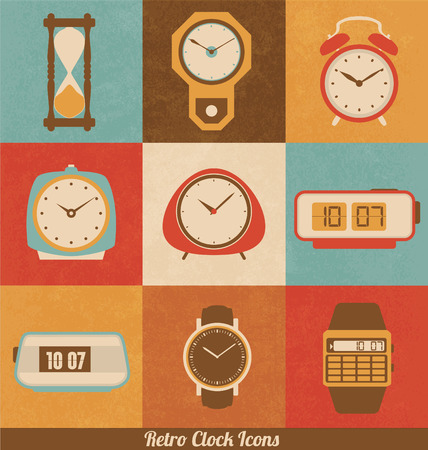 alarms: Retro Clock Icon Set Illustration