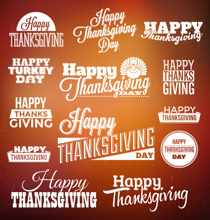 happy feast: Typographic Thanksgiving Design Set