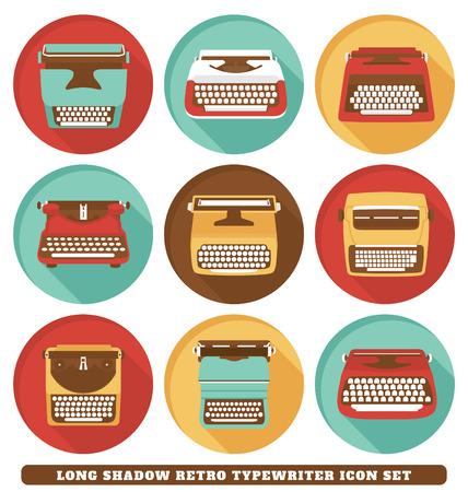 typewriter machine: Typewriters - Long Shadow Retro Icon Set