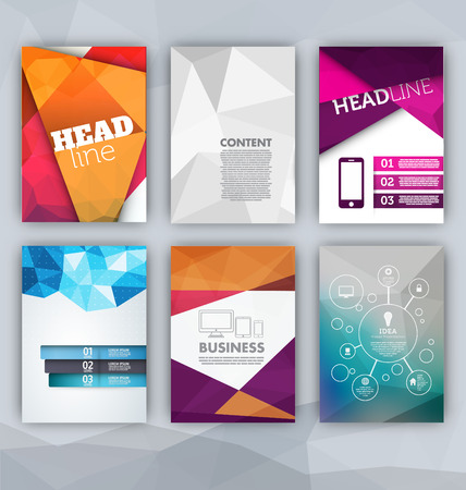 with sets of elements: Flyer Sets - Abstract Backgrounds - Presentation Template - Brochure Print Design Elements Illustration