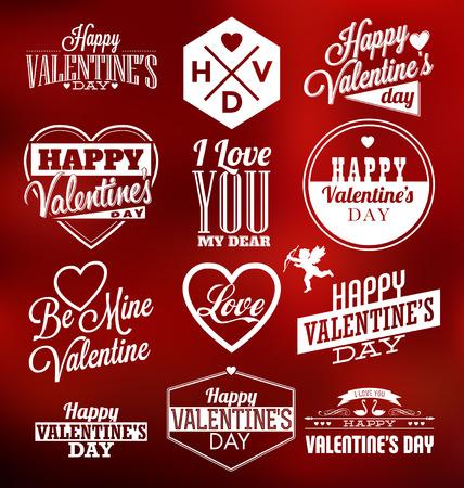 文字体裁のバレンタイン ラベル デザインのセット