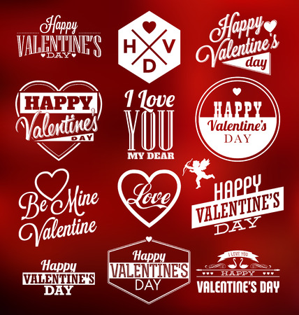Set of Typographic Valentines Label Designs Çizim