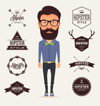 blue shirt: Hipster Style Character with Trendy Typographic Design Elements  Illustration of a typical bearded Hipster with full outfit wearing a blue shirt green bow and dark trousers on a light background